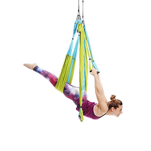 Yoga Trapeze [official] – Yoga Swing/Sling/Inversion Tool, Blue/Green by YOGABODY – with Free DVD