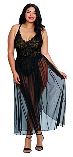 - Dreamgirl Women's Plus Size Black Lace Teddy and Sheer Wraparound Skirt - 2X