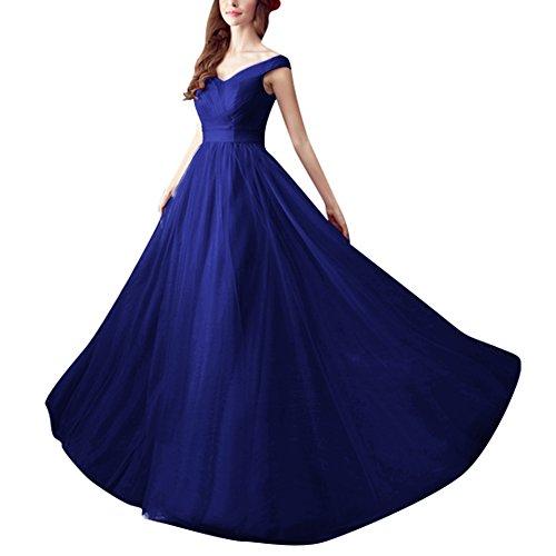 H.S.D Women's Elegant A Line Long Pleated Bridesmaid Dresses Prom Gowns Royal Blue (Mulan Blue Dress)