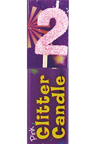 Image Unavailable Not Available For Color Small 2nd Birthday Pink Glitter Candle