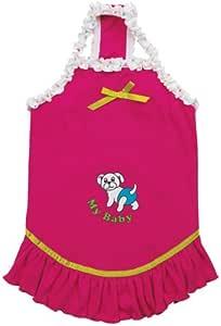 16-pulgadas de poliéster / algodón Mi bebé vestido de perro sólido, Medio, frambuesa