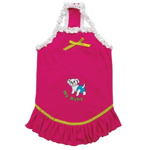 Amazon.com : 16-pulgadas de poliéster / algodón Mi bebé vestido de perro sólido, Medio, frambuesa : Pet Supplies
