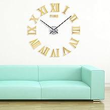 Yosoo NEW Modern Ultra Silent DIY Large Wall Clock 3D Mirror Sticker Modern Adhesive Mirror Acrylic Arabic Digit Sticker Home Decoration, Living Room Bedroom Dorms Watch Home Office Decor (Gold)