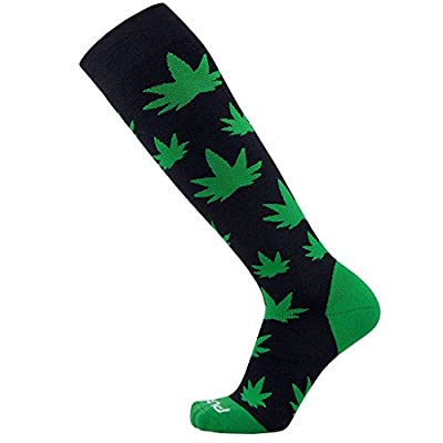 Nature Snowboard Socks – Warm Midweight Snowboarding Socks for Men and Women - Great for Cold Weather Skiing, Pot Leaves