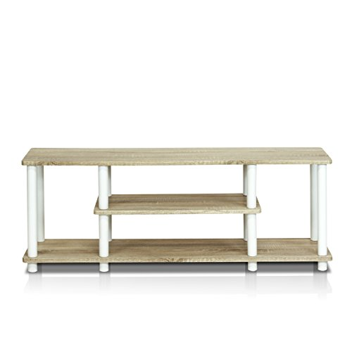 Furinno 12250R1OK/WH Turn-N-Tube No Tools 3D 3-Tier Entertainment TV Stands, Oak ()