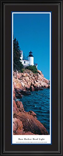 Blakeway Worldwide Panoramas Bass Harbor Head Light - Blakeway Panoramas Lighthouse Posters with Deluxe Frame Double Mat