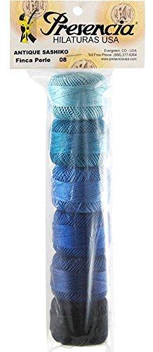 (Presencia Pearl Cotton Thread Sampler - Sashiko, Embroidery & Quilting - Sashiko Antique - Size 8 - 6 Colors - 77 yard balls)