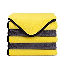 MATEPROX Premium Microfiber Cleaning Cloths,Thick Towels for Cars,Cleaning Rags for Home,Cloth with 5-Pack(Gray,Yellow)