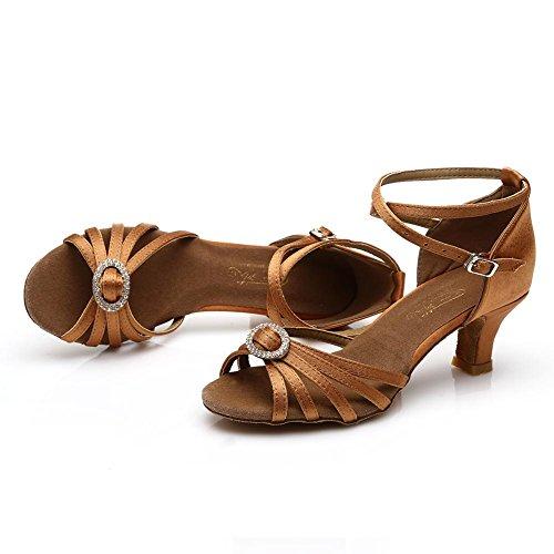 HROYL Zapatos de baile/Zapatos latinos de satín mujeres ES7-218 el marrón