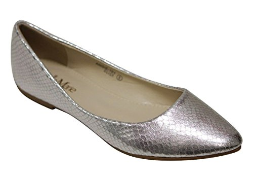 (Bella Marie Angie-101 Women's Pointy Toe Boat Slip on Patent Snake Leather Flats Silver 8)