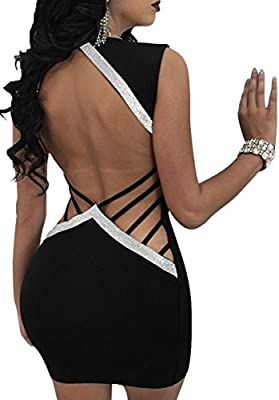 Mysmantic Women's Sexy Dresses Deev V Backless Patchwork Stretchy Mini Club Dresses