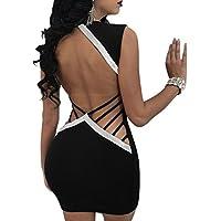 Women's Sexy Dresses Deep V Neck Bodycon Backless Club Stretchy Sleeveless Party