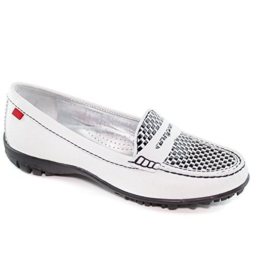 Women's Golf Light Weight Genuine Leather Made in Brazil Union White Grainy Penny With Weave Vamp Golf Performance Marc Joseph NY Fashion Shoes 9.5 by Marc Joseph New York