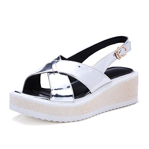 AllhqFashion Women's Buckle Open Toe Kitten Heels Microfiber Solid Sandals Silver