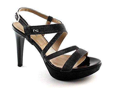 Sandales Élégantes Femmes Black Nero Chaussures Nero Paillettes Noires Talon 17890 Jardins Giardini wzvwnfqA