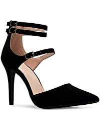 Women's Ankle Strap Pointy Toe D'Orsay Stilleto Mid High...