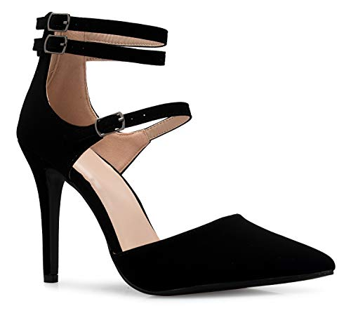 - OLIVIA K Women's Ankle Strap Pointy Toe D'Orsay Stilleto Mid High Heels Sexy Cut Out Style