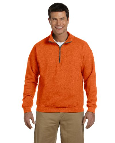 Gildan Heavy Blend 8 Oz. Vintage Classic Quarter-zip Cadet Collar Sweatshirt - Orange