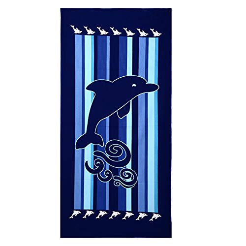 - Oarea Big Sized Towel for Beach and Bath Chair Cover Blanket Towel-(Dolphin Square)