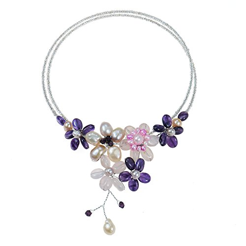 AeraVida Simulated Amethyst & Cultured Freshwater Pearls & Pink Glass Floral Choker Necklace ()