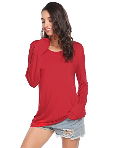 Soteer Women's Long Sleeve Tops Cotton Blend Crew Neck Casual Teen Girls Tees Loose T Shirts, Red, (Casual Long Sleeved T-shirt)