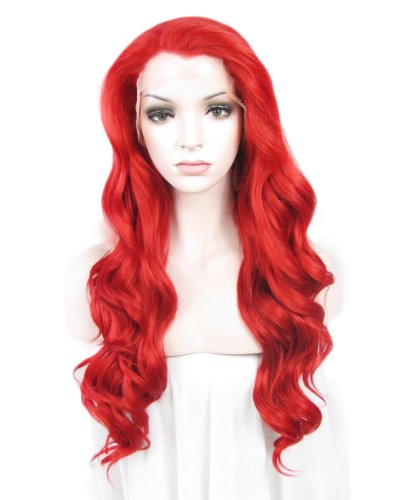 Ariel Costume Human (Imstyle Synthetic Curly Red Lace Front Wig Long Body Wavy Hair Cosplay Christmas Party Wig)