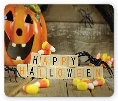 Halloween Mouse Pad, Happy Halloween Wooden Blocks with Candy Corns and Spiders Blurred Background, Standard Size Rectangle Non-Slip Rubber Mousepad, Multicolor -