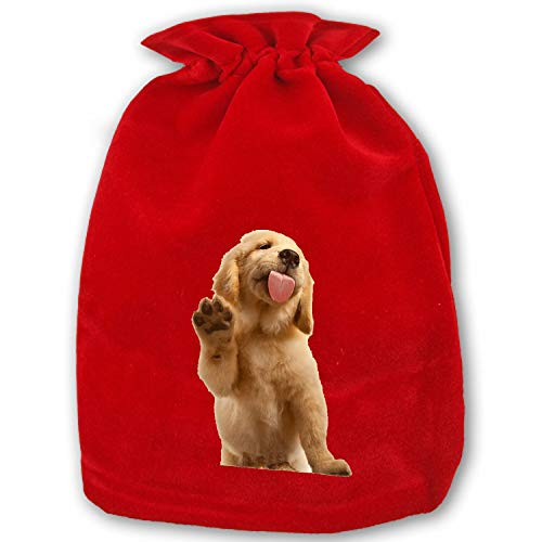 Christmas Drawstring Gift Bags 1 Pack Large Santa Sack Golden Retriever Bag Purse for Christmas Party Favors and Candy ()