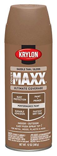Krylon K09138000 COVERMAXX Spray Paint, Gloss Saddle Tan, 12 - Paint Tan Spray