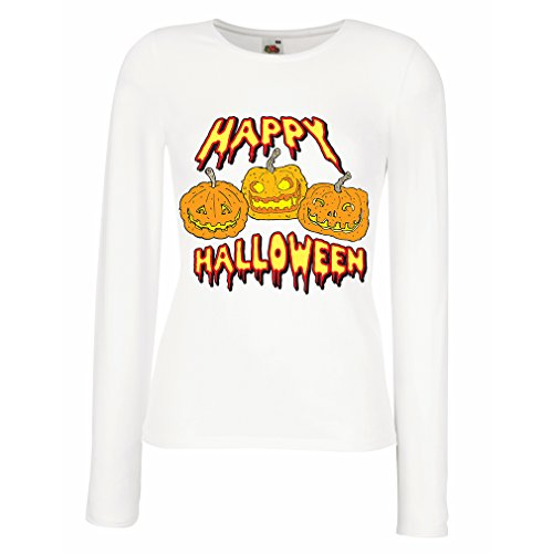 N4637M T shirts for women Long sleeve Happy Halloween! (Small White Multi Color)
