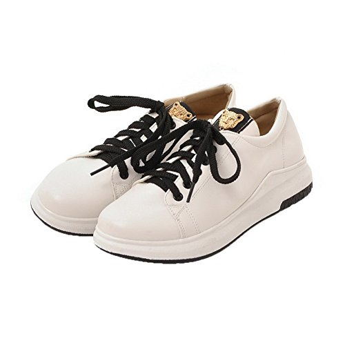 AgooLar Damen Schließen Zehe Schnüren PU Rein Ohne Absatz Pumps Schuhe Weiß