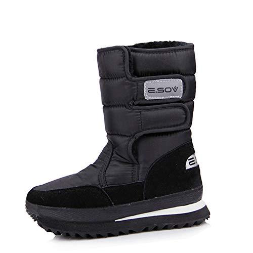 DETAIWIN Womens Snow Boots Winter Mid-Calf Platform Oxford Fabric Waterproof Slip On Warm Flats Outdoor Winter Boots