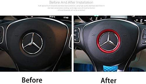 DEMILLO Sports Aluminum Steering Wheel Center Decoration Cover Trim for Mercedes B C E CLA GLA GLC GLK Class red, 2 Inner Ring Size