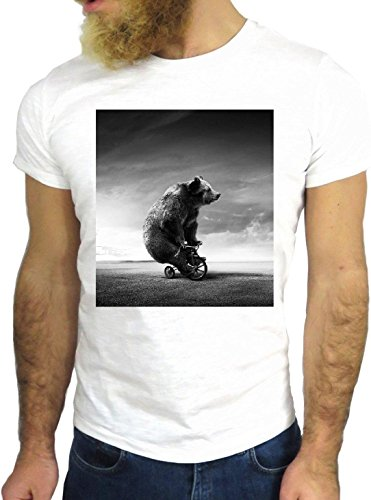 T-SHIRT JODE GGG24 HZ0253 BEAR FLAG FUN COOL VINTAGE ROCK FUNNY FASHION CARTOON NICE AMERICA BIANCA - WHITE L