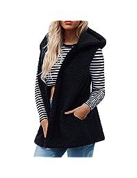kingf Womens Vest Winter Warm Faux Fur Waistcoat Sleeveless Hooded Coat