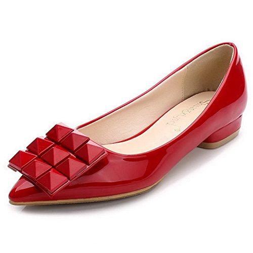 AalarDom Mujer Sin cordones Puntera en Punta Mini Tacón Material Suave De salón con Metal Rojo