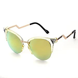 Adewu Women's Cateye Style Semi Rimless Frame Colorful Mirror Sunglasses UV400