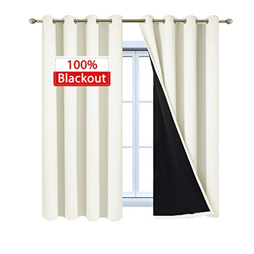 - Yakamok 100% Blackout Curtains with Black Liners, Solid Home Decor Thermal Insulated Full Blackout 2-Layer Lined Drapes, Energy Efficiency Window Draperies for Bedroom (52Wx63L, Cream, 2 Panels)