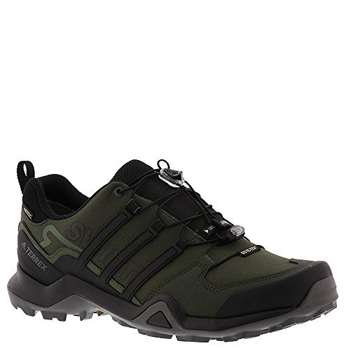 adidas Outdoor Men Terrex Swift R2 GTX Running Shoe, Black/Green, 10.5 D(M) US