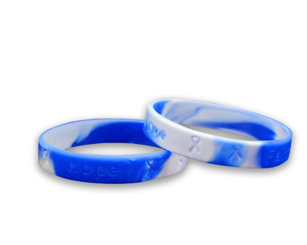Fundraising For A Cause Pack of 50 Adult Blue & White Silicone Bracelets (50 Bracelets in a Bag)