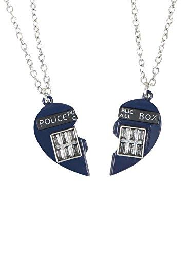 Doctor Who TARDIS Heart Best Friend Necklace Set