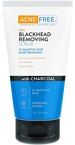 AcneFree Blackhead Removing Exfoliating Face Scrub with 2% Salicylic Acid and Charcoal Jojoba - Daily Wash, Skin Care Face Scrub Acne Treatment For Men Women and Teens With Acne Prone Skin - 5 oz Size