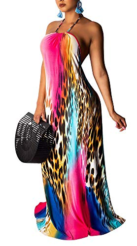 Voghtic Womens Summer Vacation Maxi Dress Halter Leopard Print Backless Sleeveless Floor Length Beach Swing Long Dress