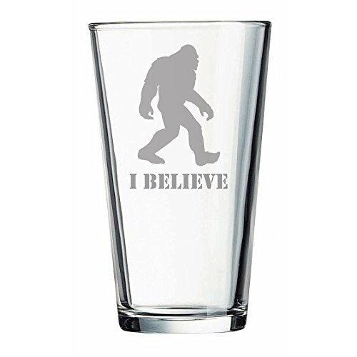 """""""I Believe"""" Bigfoot - Sasquatch Gifts - Beer Glass - Funny Gift - Christmas - Birthday - Couples - Gone Squatchin - Kitchen Accessories - Dad - Garden Gnome by Drunken Gnome"""