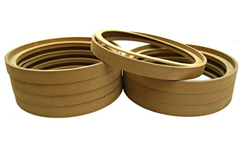 4 Pair 12'' MDF Wood Speaker Subwoofer Mounting Spacer Rings Recessed with Bezel by Pipeman's Installation Solution
