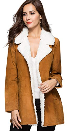 Leather Notched Collar Coat - chouyatou Women's Winter Notched Fur Collar Open-Front Genuine Leather Long Coat (X-Large, Tan)