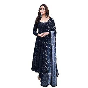Ethnic Empire Women's Georgette & Silk Semi-stitched Salwar Suit (Ethnic_ER118214_Black_Free Size)