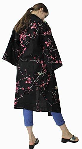 Japanese Women's Kimono Robe Happi Coat Dress Cotton Bird Plum Black by Kimono Japan (Image #3)