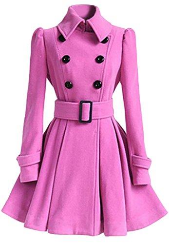 NQ Womens Elegant Lapel Wool-Blend Double Breasted Belt Pea Coat Pink Large