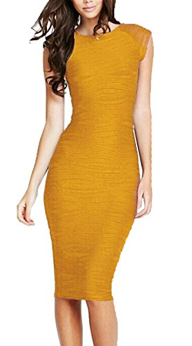 (REPHYLLIS Women's Casual Boat Neck Slim Bodycon Business Party Work Pencil Dress Yellow L)